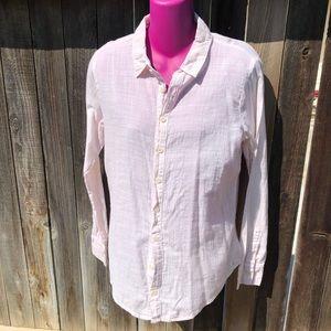 CP shades light pink button down linen blouse
